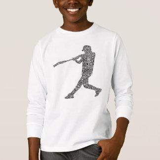 T-shirt Joueur de base-ball typographique de base-ball