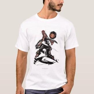T-shirt Joueur de basket jouant avec le basket-ball