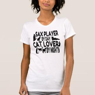 T-shirt Joueur de saxo d'amoureux des chats