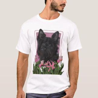 T-shirt Jour de mères - tulipes roses - cairn Terrier -