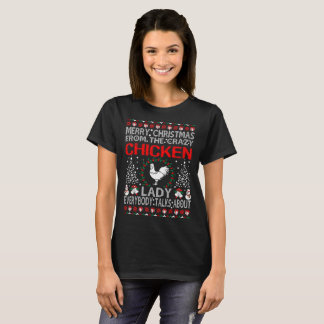 T-shirt Joyeux Noël de Madame Ugly Sweater Tee de poulet