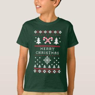 T-shirt Joyeux Noël de Noël de sucre de canne laid de