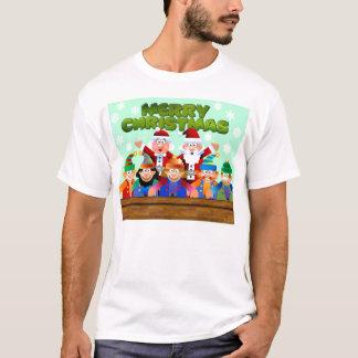 T-shirt Joyeux Noël du père noël et des elfes
