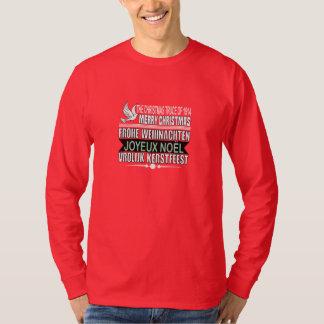 T-shirt Joyeux Noël en allemand, français, et Néerlandais