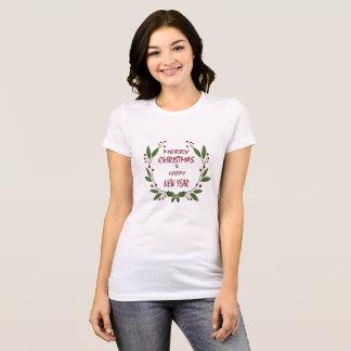 T-shirt Joyeux Noël et une chemise de femelle de bonne