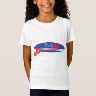 T-Shirt Ketmie blanche et bleue rouge de planche de surf