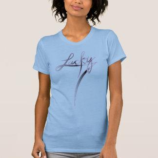 T-shirt L manuscrit chanceux de batteur de dames de
