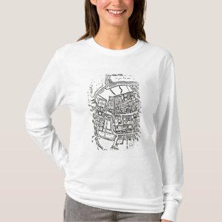T-shirt La carte de Loggan d'Oxford, feuille orientale