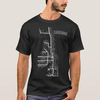 T-shirt La carte de souterrain de Chicago avec le train