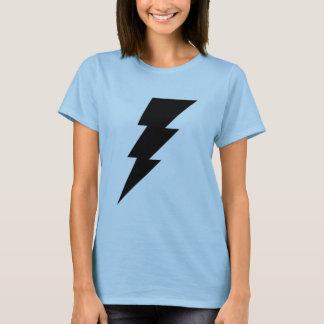 T-shirt La chemise de foudre des femmes noires de boulon