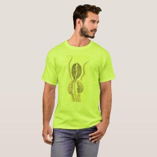 T-shirt La fleur bronzage de Sepie sur le vert avec le