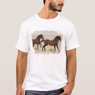 T-shirt La Namibie, Aus. Chevaux sauvages fonctionnant sur