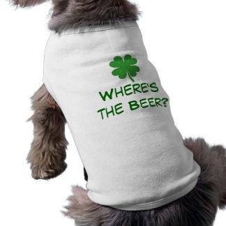 T-shirt Là où est la chemise de chienchien de bière