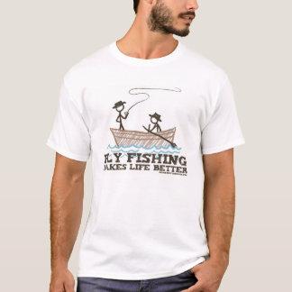 T-shirt La pêche de mouche rend la vie meilleure