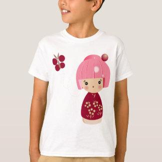 T-shirt La pièce en t de Kokeshi des enfants roses de