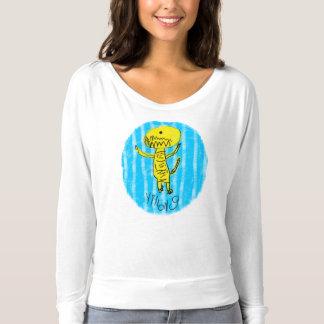 T-shirt La pièce en t de la femme jaune de Dino