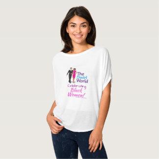 T-shirt La pièce en t d'écoulement de logo du monde de