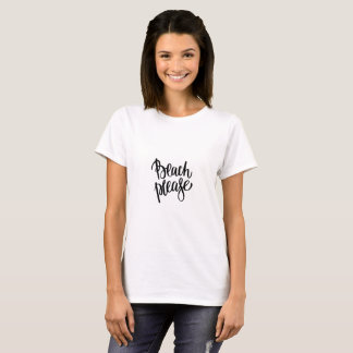 T-shirt La plage noire moderne de brosse citent svp la