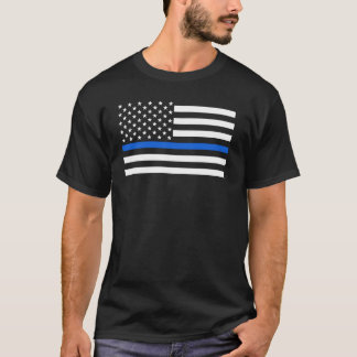 T-shirt La police de drapeau américain amincit Blue Line