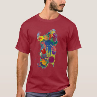 T-shirt La Sardaigne, carte de peinture d'éclaboussure