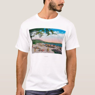 T-shirt La scène de plage chez Carmel, la Californie