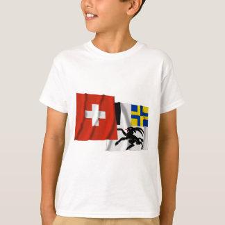 T-shirt La Suisse et les drapeaux de ondulation de
