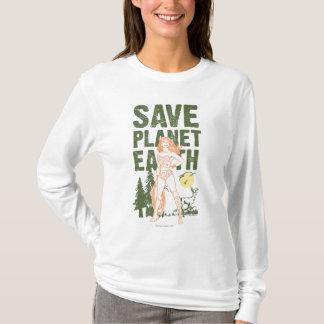 T-shirt La terre de planète d'économies de femme de