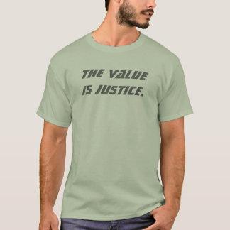 T-shirt La valeur est justice. (Gris/vert)