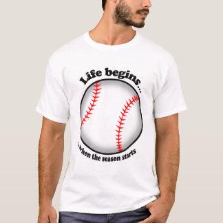 T-shirt La vie commence par le base-ball