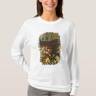 T-shirt La vie toujours avec des fleurs, des fruits et des