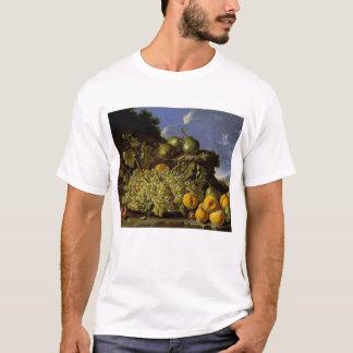 T-shirt La vie toujours avec le plat des raisins, pêches,