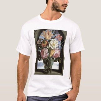 T-shirt La vie toujours des fleurs dans un verre de
