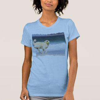 T-shirt Labradoodle - jour heureux sur la plage