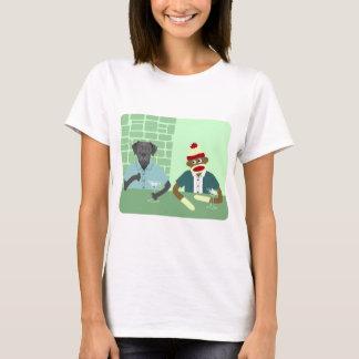 T-shirt Labrador retriever noir et singe de chaussette