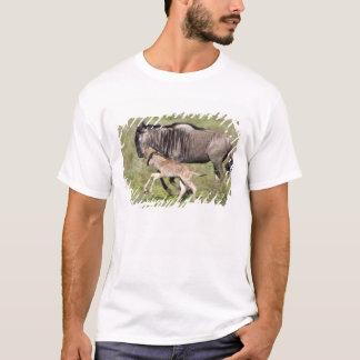 T-shirt L'Afrique. La Tanzanie. Mère et bébé de gnou à