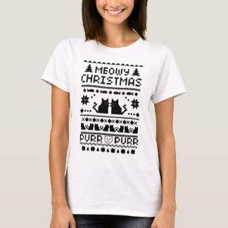 T-shirt laid de chat de Noël de Meowy des femmes
