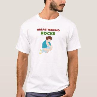 T-shirt l'allaitement des roches, mère, bébé trait le