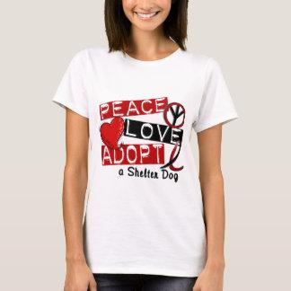 T-shirt L'AMOUR de PAIX ADOPTENT un chien d'abri