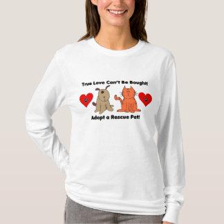 T-shirt L'amour vrai ne peut pas être acheté : Chien et