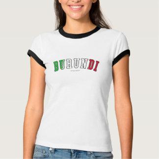T-shirt Le Burundi dans des couleurs de drapeau national