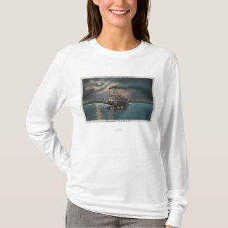 T-shirt Le Caire, IL - vue de nuit de vapeur sur la Mlle.