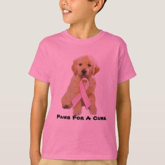 T-shirt Le cancer du sein de golden retriever badine le