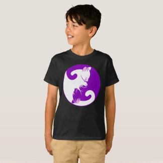 T-shirt Le cercle pourpre de chat de Ying Yang de la vie