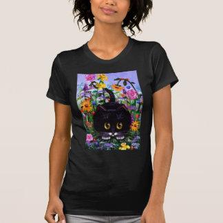 T-shirt Le chat floral de smoking de noir d'art fleurit