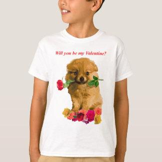 T-shirt Le chiot de Pomeranian soit mes roses de Valentine