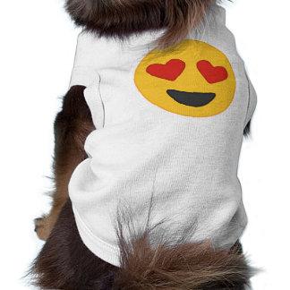 T-shirt Le coeur observe la chemise de chien d'Emoji
