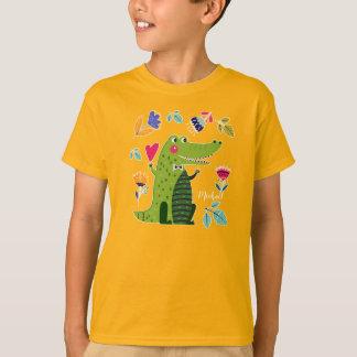 T-shirt Le crocodile drôle avec la coutume de coeur badine
