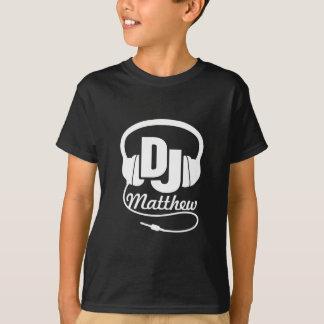 T-shirt Le DJ votre blanc de nom sur le noir badine le