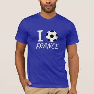 T-shirt Le football I (amour) France - personnalisable