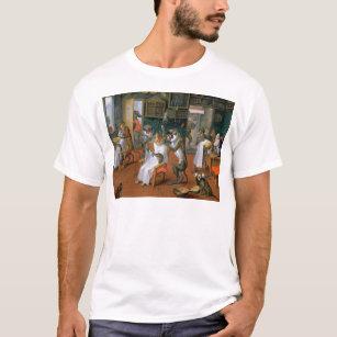T-shirt Le magasin de coiffeur avec des singes et des